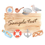 Watercolor nautical banner. Watercolor hand painted nautical banner on white background Stock Photography