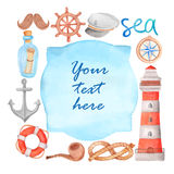Watercolor nautical banner Stock Images