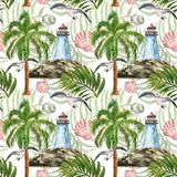 Watercolor summer nautical print. Marine sryle seamless pattern with lighthouse, island, palm tree, seagull, tropical leaf on. Watercolor nautical marine style vector illustration