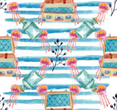 Watercolor nautical pattern Stock Photography