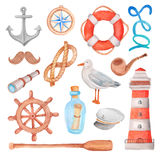 Watercolor nautical sea set Royalty Free Stock Photos