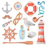 Watercolor nautical sea set. On white Royalty Free Stock Photos