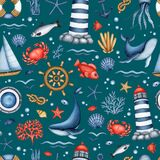 Watercolor Nautical seamless pattern. Sea Life, Equipment. Hand drawn Lighthouse, Sailboat, Animal, Plant. Maritime background