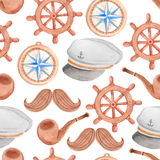 Watercolor nautical seamless pattern. On white Royalty Free Stock Photography
