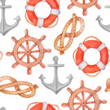 Watercolor nautical seamless pattern. On white Royalty Free Stock Photo
