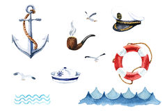 Watercolor nautical set of design elements Stock Photo