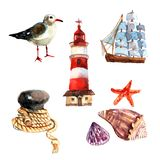 Watercolor Nautical Set Royalty Free Stock Photography