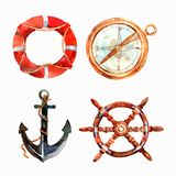 Watercolor Nautical Set Royalty Free Stock Images
