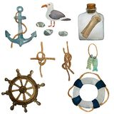 Watercolor nautical set of sea travelling . Hand drawn cartoon elements: seahouse, fishes, sea gull, pebbles, sea knots. Anchor. Isolated design objects on stock illustration