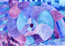 Watercolor Nautilus Picasso in blue. Sea theme watercolor. Sea P Stock Photo