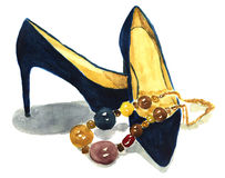 Watercolor navi shoes with necklace. Elegant hand-drawn fashion illustration. Royalty Free Stock Image