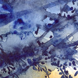Watercolor navy blue foliage abstract texture background Royalty Free Stock Image