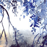 Watercolor navy blue foliage abstract texture background Stock Images