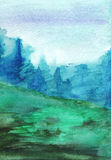 Watercolor navy blue green forest fog autumn wood landscape Stock Photos