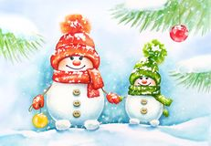 Watercolor New Year card with two cute snowmen in the forest stock image