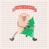 Watercolor New Year and Christmas print. Funny sheep. Royalty Free Stock Image