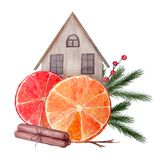 Watercolor New Year composition stock illustration