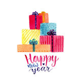 Watercolor New Year gift box with modern calligraphy. celebration greeting card.  stock illustration