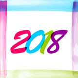 Watercolor new year 2018 number. Colored text banner. Texture brush colorful greeting frame. Typography splash date design. Vector colored illustration. Blue Stock Image