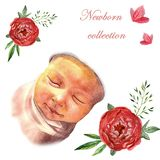 Watercolor newborn sleeping baby in floral frame stock illustration