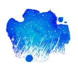 Watercolor night blue splash with hand drawing garden grass Stock Photos