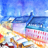 Watercolor night illuminated street square city town artwork.  Royalty Free Stock Photo