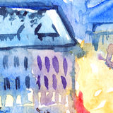Watercolor night illuminated street square city town artwork.  Royalty Free Stock Photography