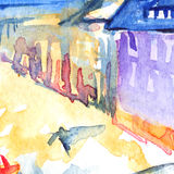 Watercolor night illuminated street square city town artwork.  Royalty Free Stock Image