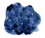 Watercolor night sky background, hand drawn watercolour texture Royalty Free Stock Photo