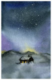 Watercolor night sky and house.  Royalty Free Stock Image