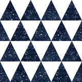 Watercolor night sky triangles seamless vector pattern. Royalty Free Stock Image