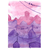 Watercolor night town Royalty Free Stock Photos