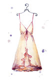 Watercolor nightgown. hand painted. Fashion illustration. Royalty Free Stock Images