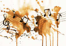 Watercolor notes in sepia Royalty Free Stock Photo