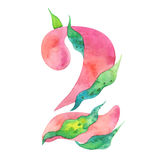 Watercolor number 2, floral style, peony stylization, isolated character two on white Stock Image