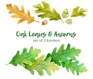 Watercolor oak leaves and ancorns. Set of 2 hand drawn borders vector illustration