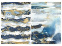 Free Watercolor Ocean Abstract Texture With Blue, White And Gold Waves. Hand Painted Sea Or Ocean Background. Aquatic Royalty Free Stock Image - 193498416