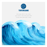 Watercolor ocean tsunami waves Stock Photography