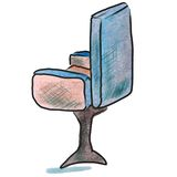 Watercolor office chair blue cartoon figure Stock Photography