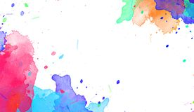 Multiple watercolor paint drop splatters on solated background. stock photography