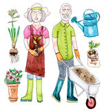 Watercolor old couple with garden set. Old colorful couple in the garden with garden set - watercolor illustration on white background stock illustration