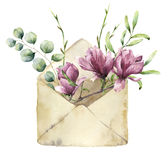 Watercolor old envelope with spring greenery, eucalyptus and magnolia. Hand painted floral card with flower, silver Royalty Free Stock Images