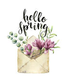 Watercolor old envelope with spring greenery, eucalyptus and magnolia. Hand painted floral card with flower, silver Stock Images