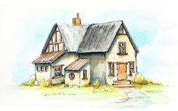 Watercolor old house on an green lawn royalty free illustration