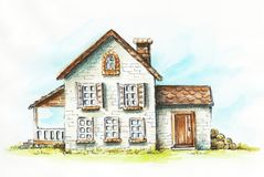 Watercolor old house on an green lawn. Old house, cottage on an green lawn. Watercolor hand drawn illustration stock illustration