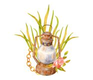 Free Watercolor Old Rusty Lamp, Golden Chain, Autumn Leaves And Dry Flower. Hand Painted Vintage Composition With Kerosene Stock Photography - 193303512