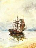Watercolor old ship Stock Photos