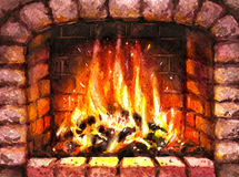 Watercolor  Old Stone Burning Fireplace. Hand drawn watercolor illustration. Hygge theme. Elements of home comfort.  Old Stone Burning Fireplace Stock Photography