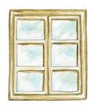 Watercolor old window vector illustration
