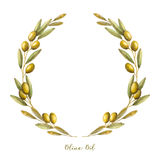Watercolor olive branch wreath. Hand drawn natural vector frame royalty free illustration